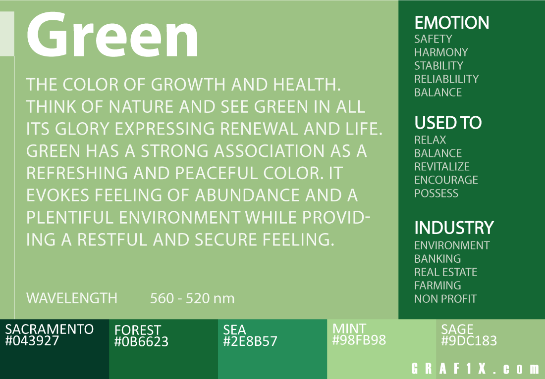 Color meaning and psychology of red blue green yellow orange green color meaning nvjuhfo Choice Image