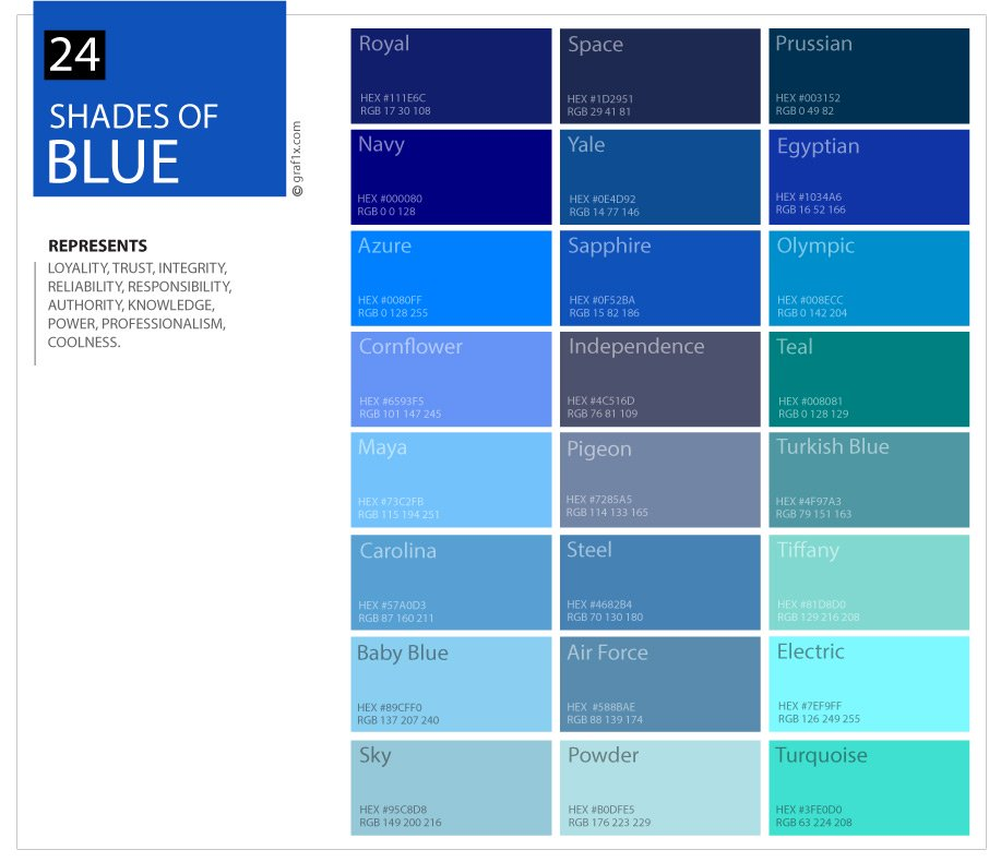 24 shades of blue color palette for Shades of blue colours