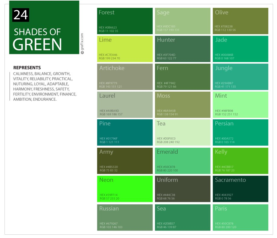24 shades of green color palette for Show me the color green
