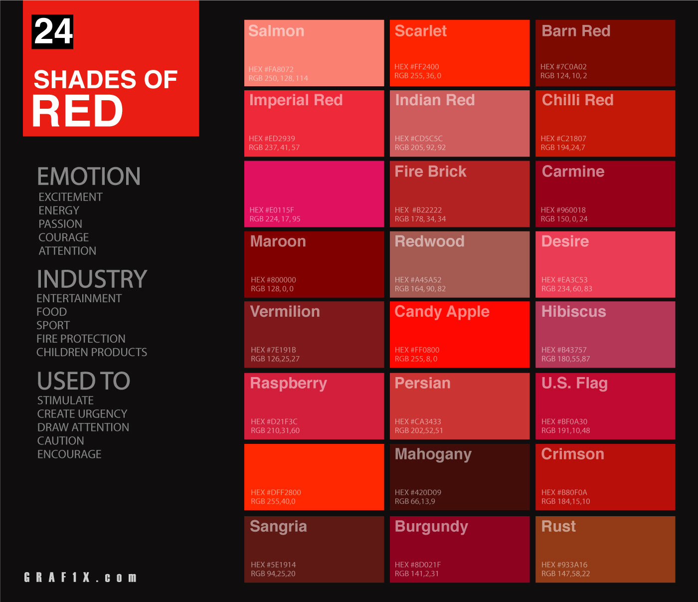 Shades Of Red Colour Chart