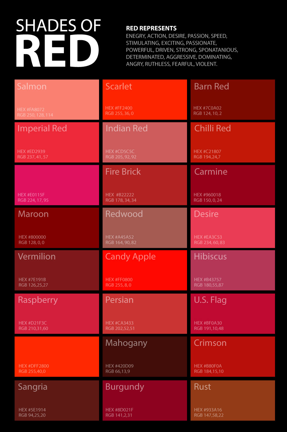 Shades Of Red Colour Chart Home Design