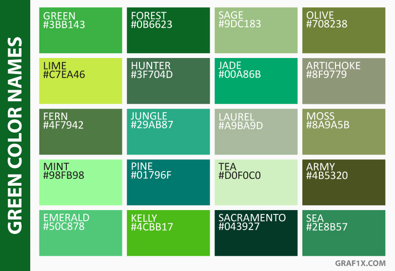 green color names