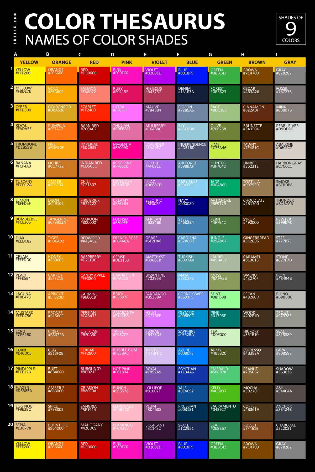 List of colors with color names for Colors shades of green