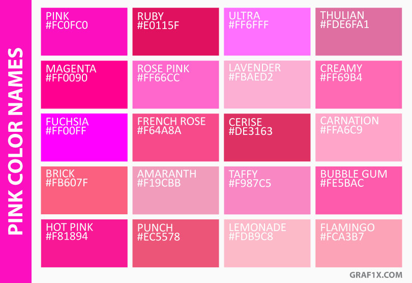 list of colors with color names graf1x com rh graf1x com pink colors code pink color ark
