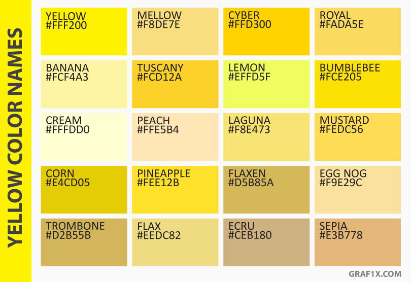 List of colors with color names for Different yellow paint colors
