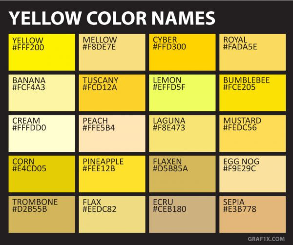 yellow color names