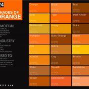 24 Shades Of Orange Color Palette