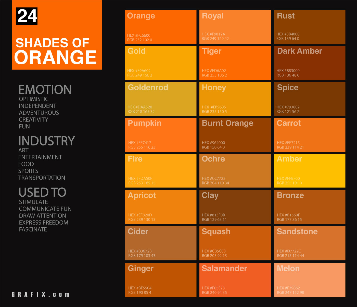24 Shades Of Orange Color Palette