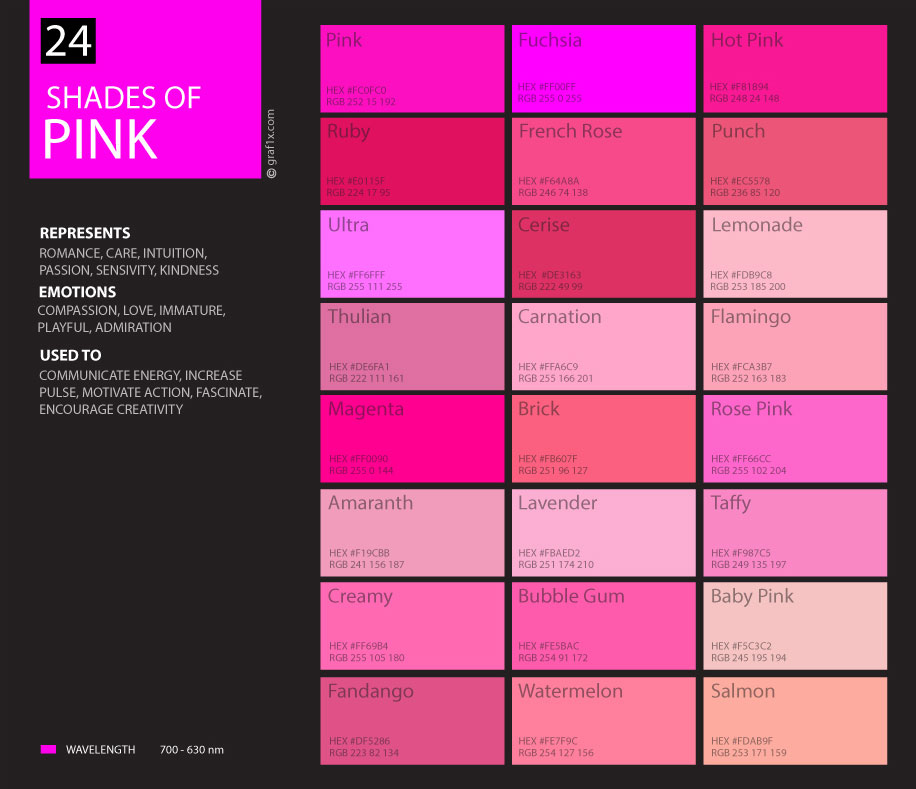24 shades of pink color palette graf1x com rh graf1x com pink colors names pink colors hex